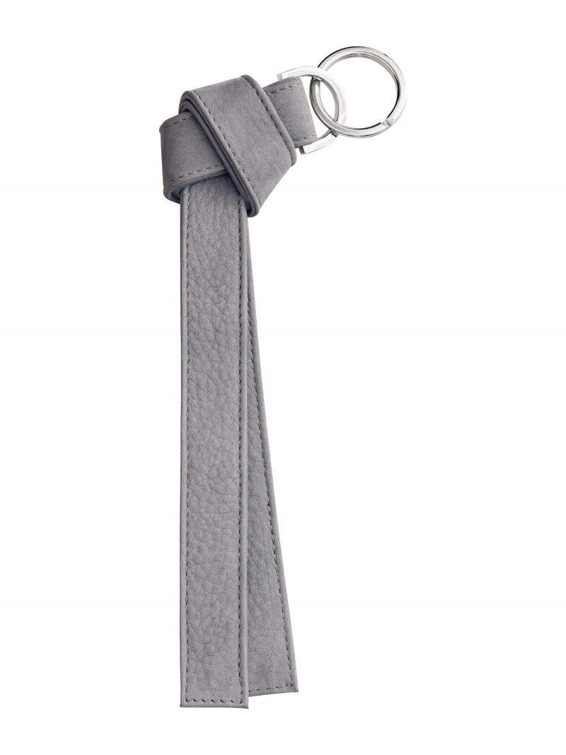 TAPE K keychain in medium grey nubuck leather | TSATSAS