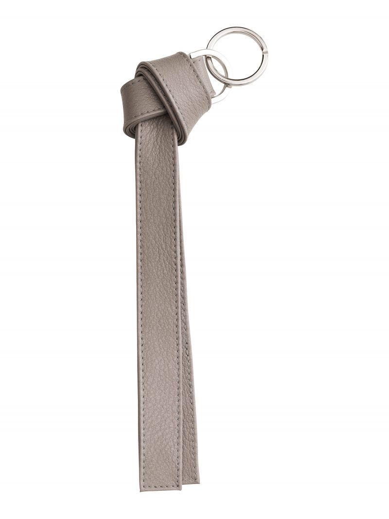 TAPE K keychain in grey calfskin leather | TSATSAS