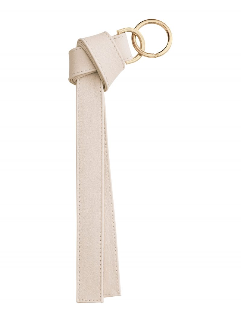 TAPE K keychain in ivory calfskin leather | TSATSAS