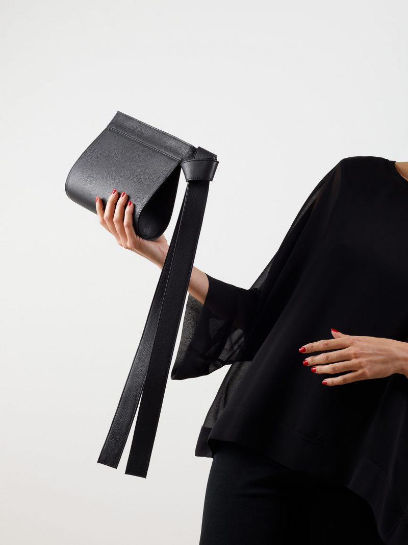TAPE XS clutch bag in black calfskin leather | TSATSAS