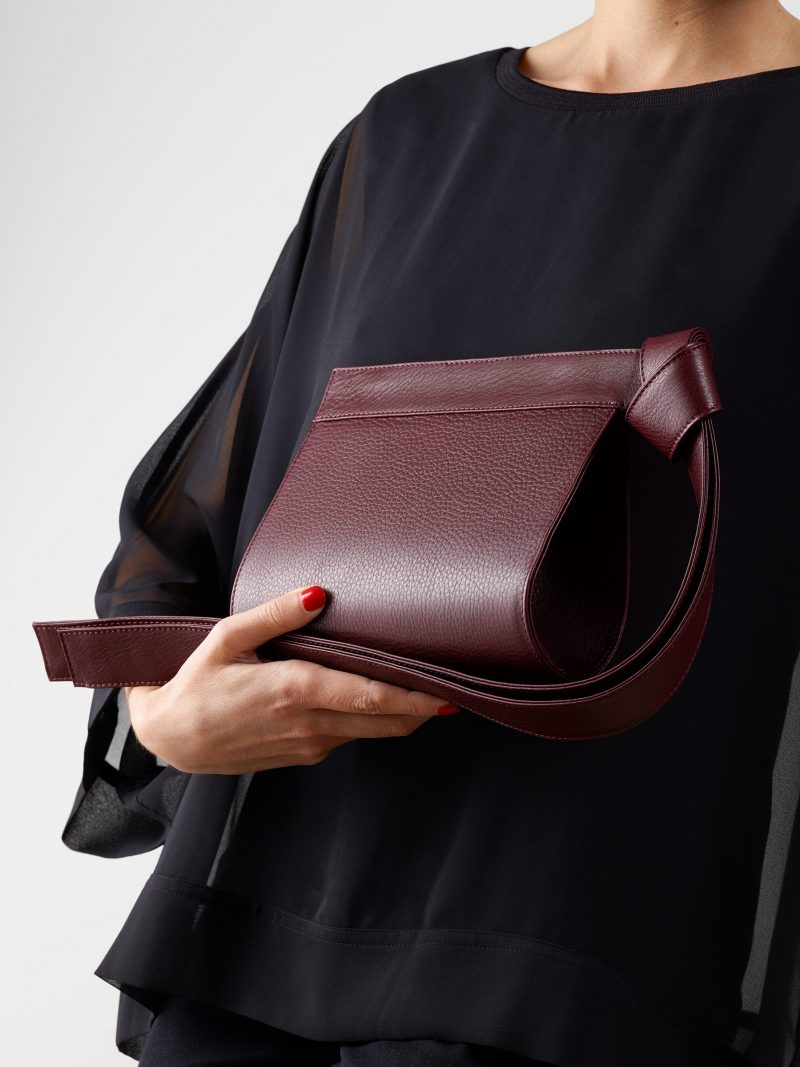 TAPE XS clutch bag in burgundy calfskin leather | TSATSAS