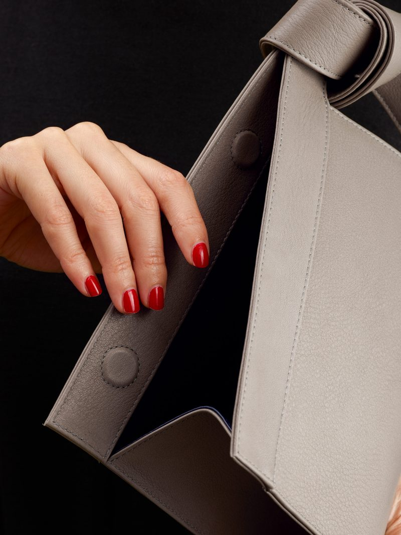 TAPE XS clutch bag in grey calfskin leather | TSATSAS
