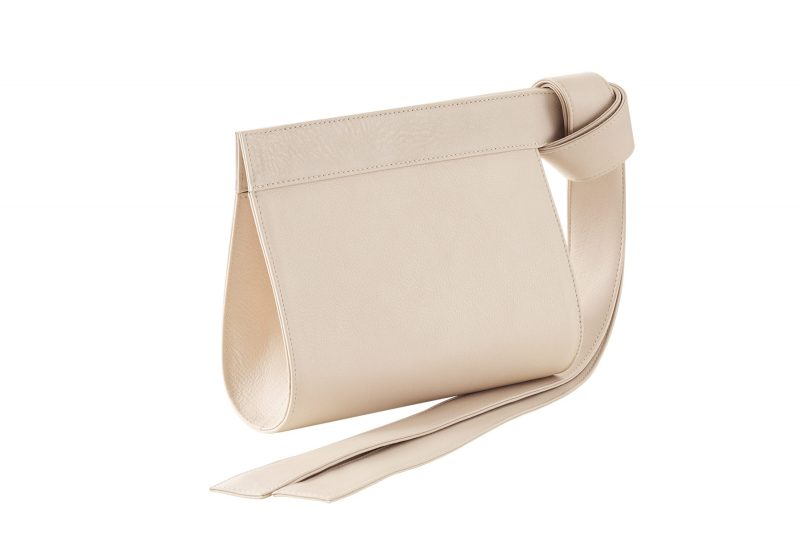 TAPE XS clutch bag in ivory calfskin leather | TSATSAS