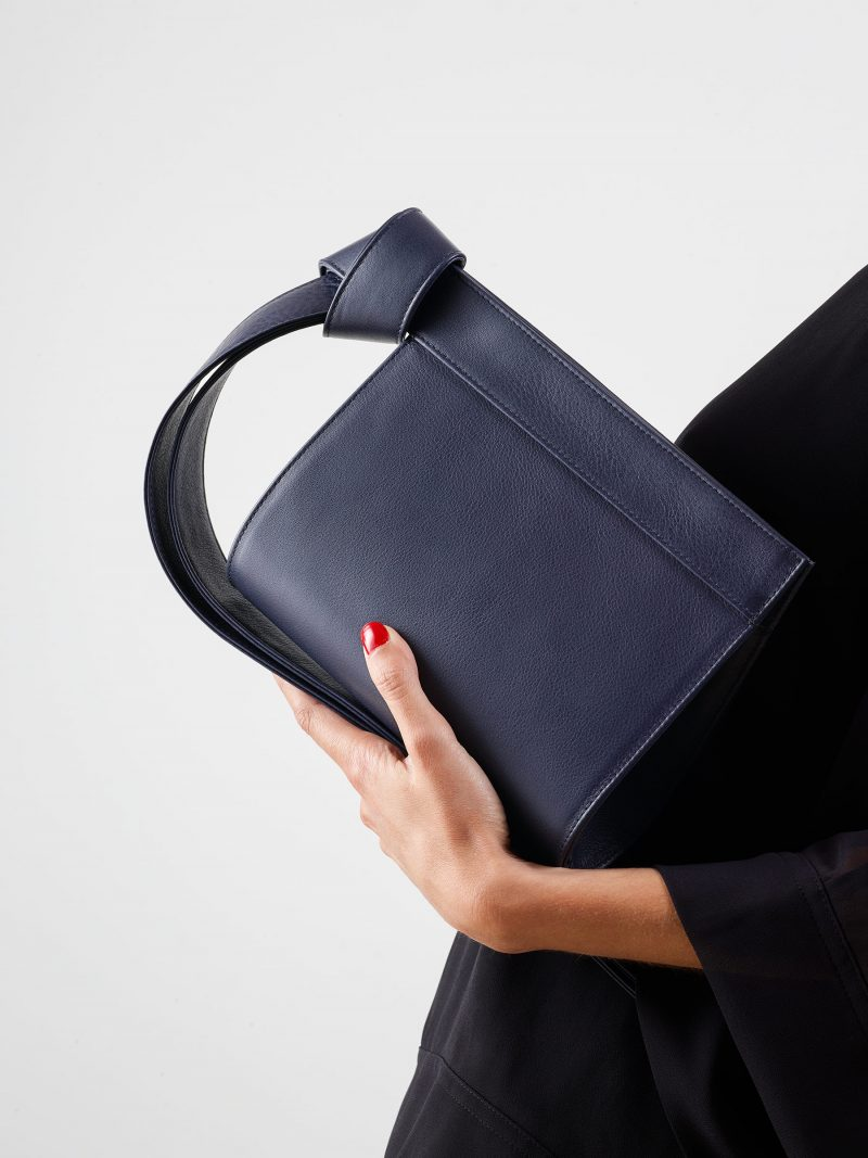 TAPE XS clutch bag in navy blue calfskin leather | TSATSAS