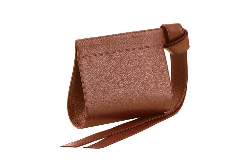 TAPE XS clutch bag in tan calfskin leather | TSATSAS