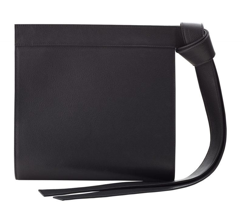 TAPE clutch bag in black calfskin leather | TSATSAS