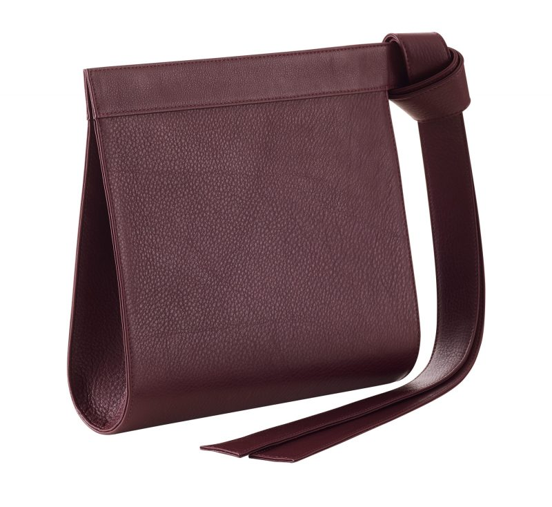 TAPE clutch bag in burgundy calfskin leather | TSATSAS