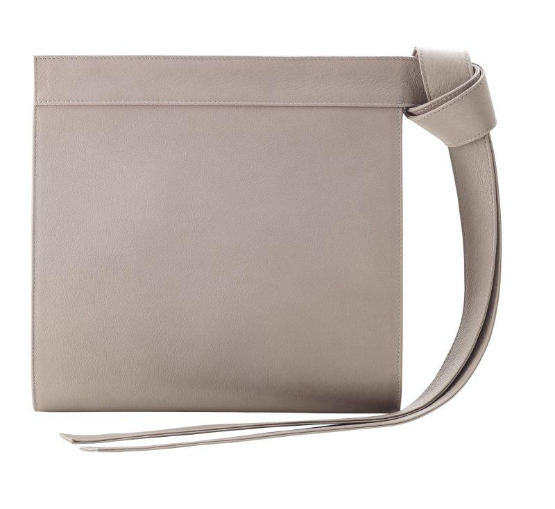 TAPE clutch bag in grey calfskin leather | TSATSAS
