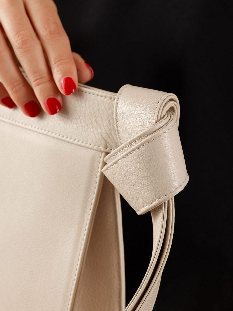 TAPE clutch bag in ivory calfskin leather | TSATSAS