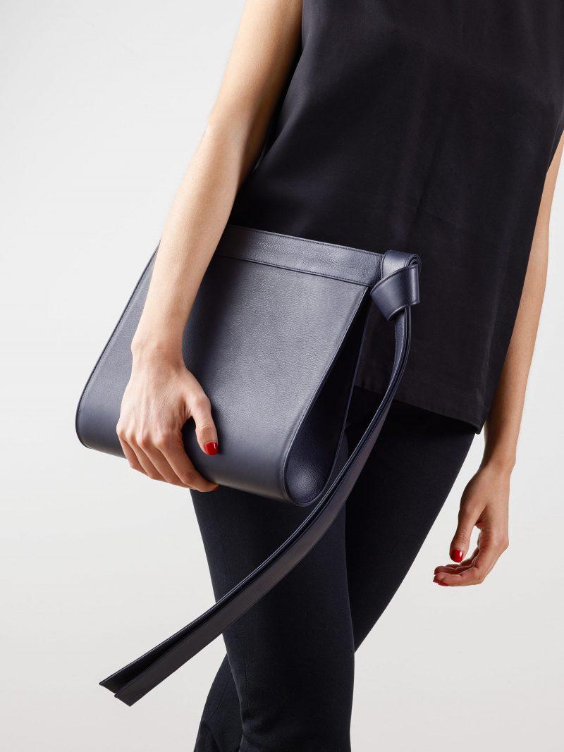 TAPE clutch bag in navy blue calfskin leather   TSATSAS