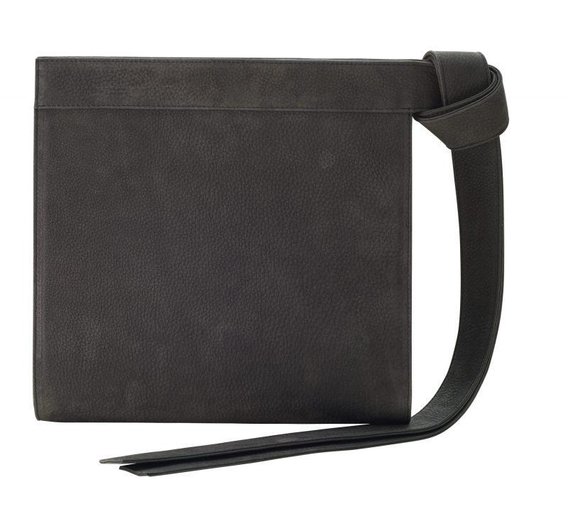 TAPE clutch bag in black grey nubuck leather | TSATSAS