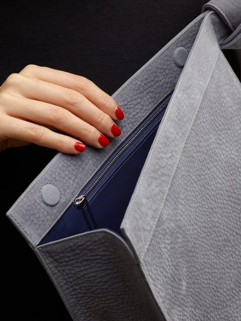 TAPE clutch bag in medium grey nubuck leather | TSATSAS