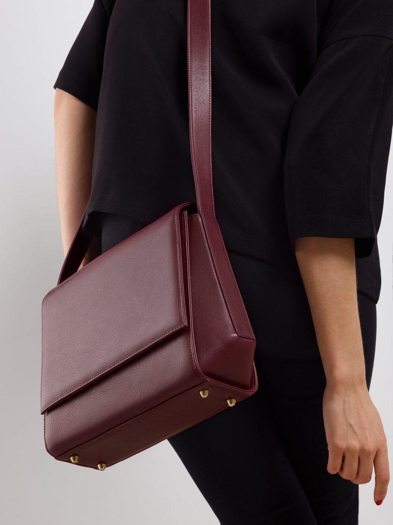 TURIN shoulder bag in burgundy calfskin leather | TSATSAS