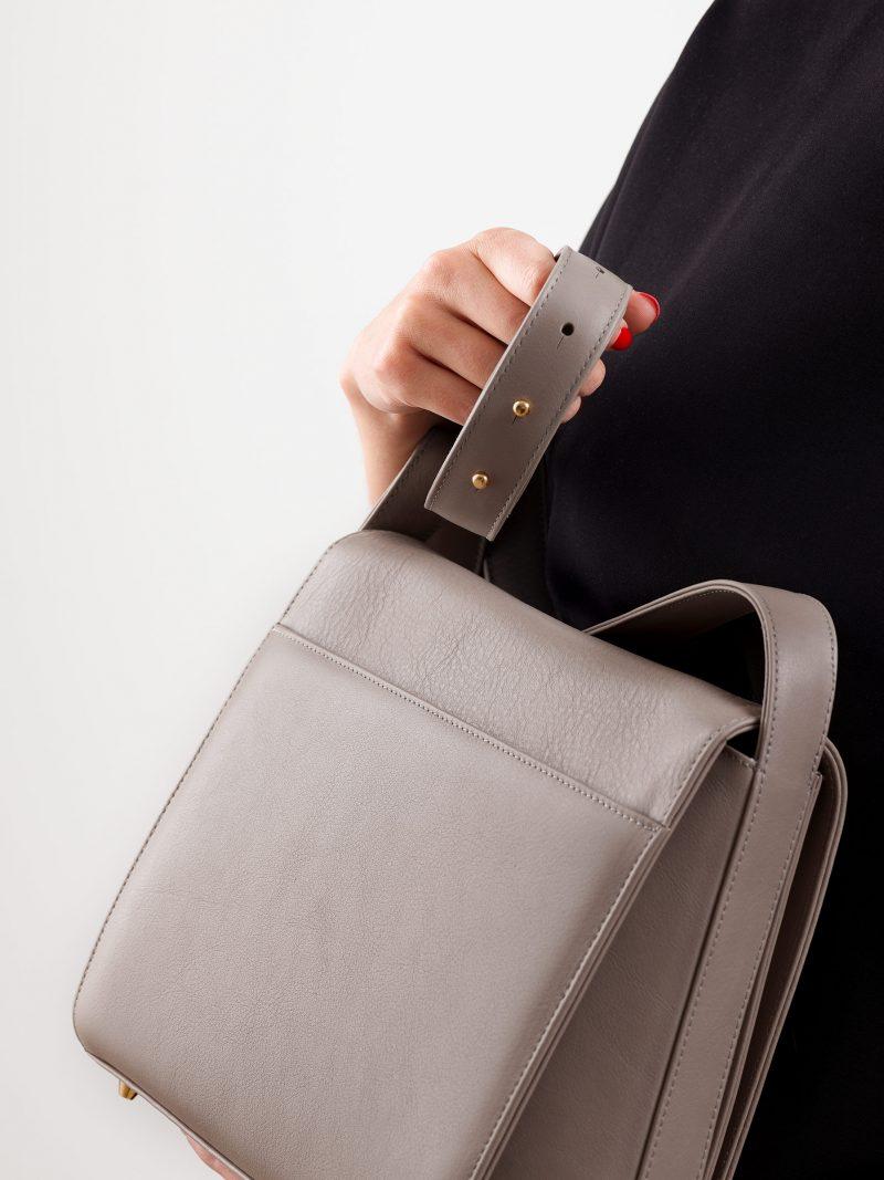 TURIN shoulder bag in grey calfskin leather | TSATSAS