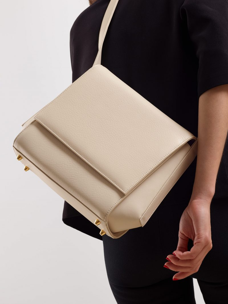 TURIN shoulder bag in ivory calfskin leather | TSATSAS