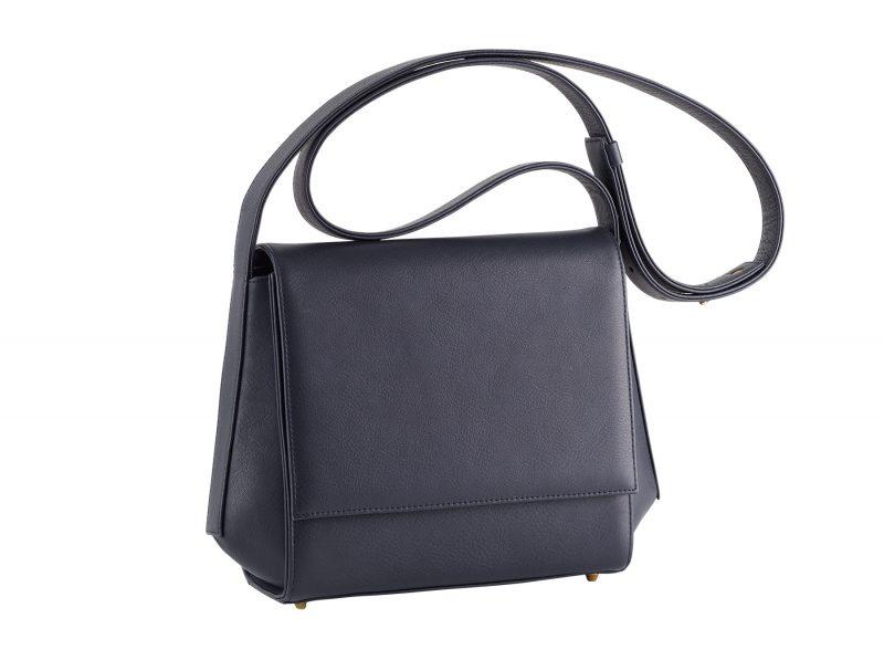 TURIN shoulder bag in navy blue calfskin leather | TSATSAS