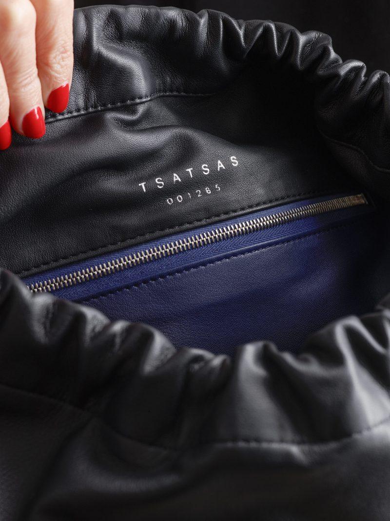 XELA backpack in black lamb nappa leather | TSATSAS