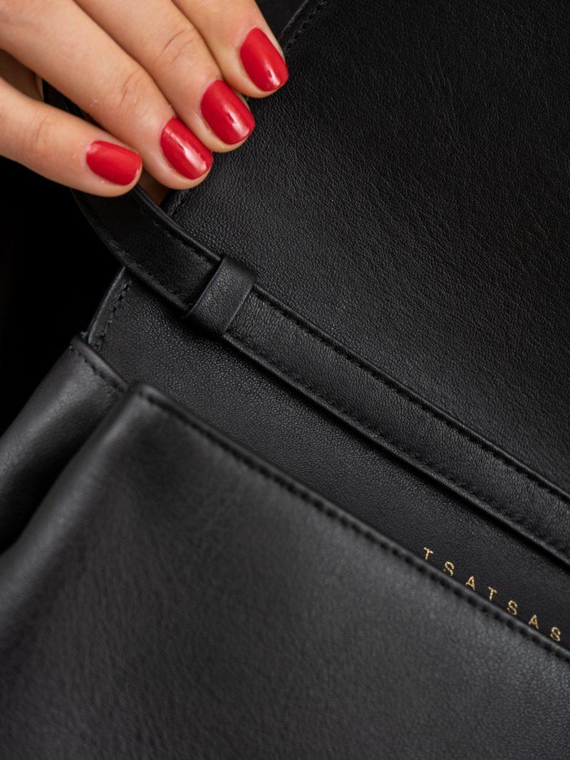 AMOS shoulder bag in black calfskin leather   TSATSAS