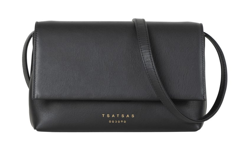 AMOS shoulder bag in black calfskin leather | TSATSAS