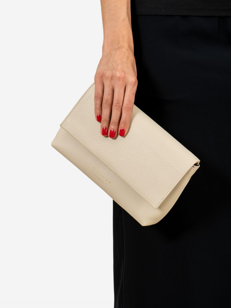 AMOS shoulder bag in ivory calfskin leather | TSATSAS