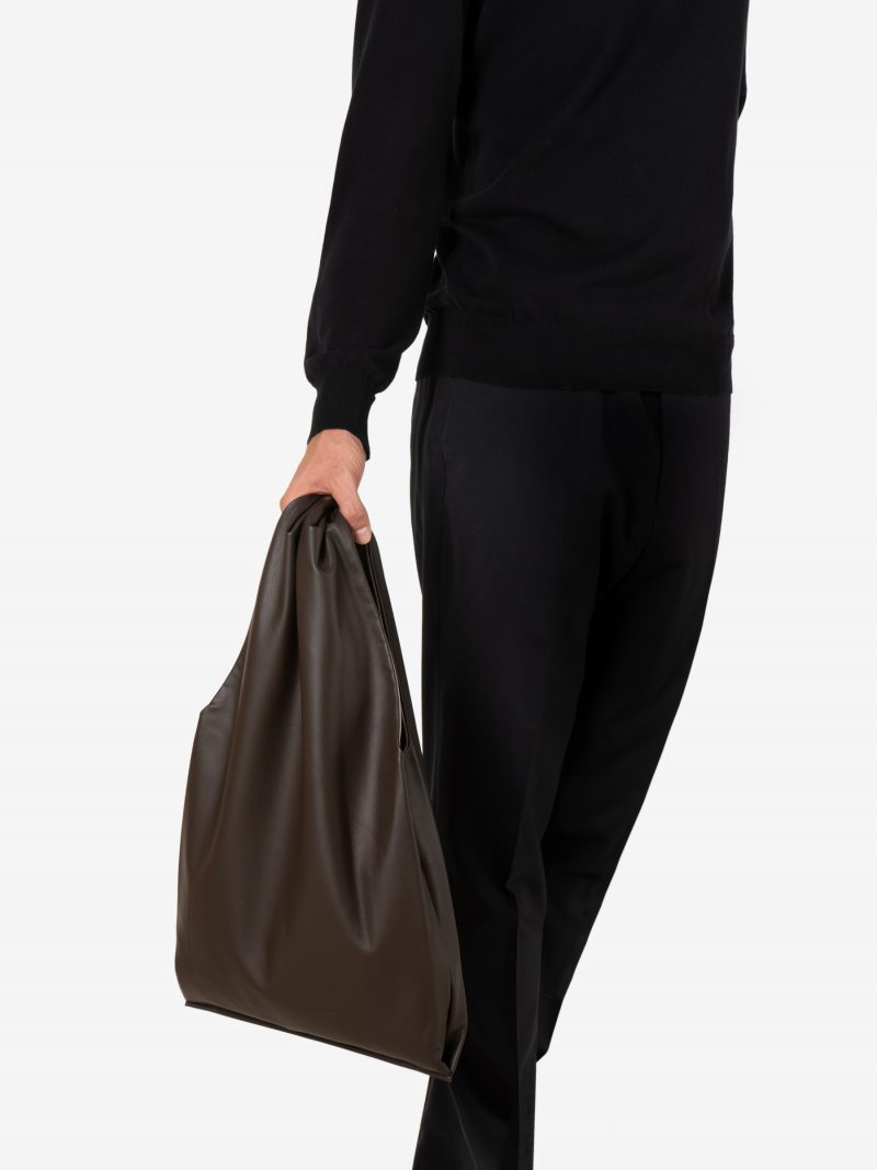 LATO tote bag in dark brown lamb nappa leather with contrasting lining in quartz grey | TSATSAS