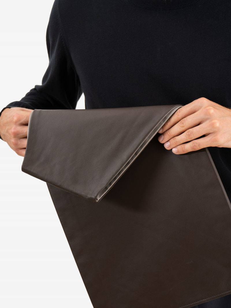 LATO tote bag in dark brown lamb nappa leather with contrasting lining in quartz grey   TSATSAS