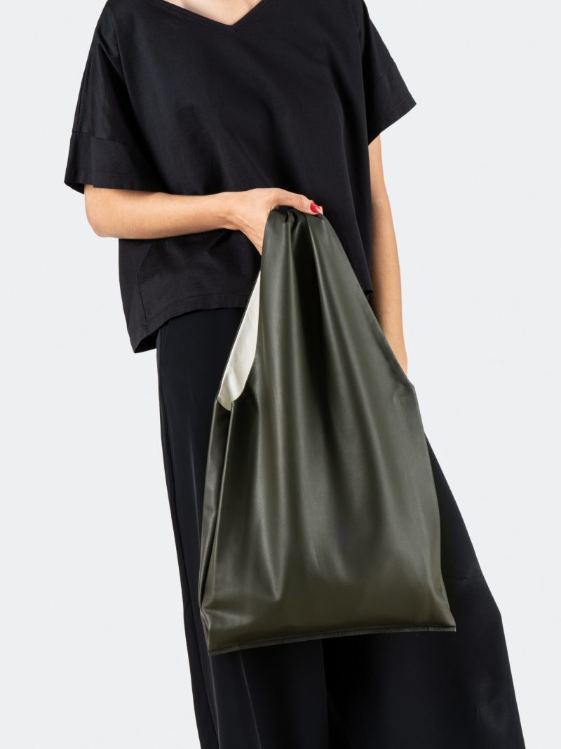 LATO tote bag in fir green lamb nappa leather with contrasting lining in off-white | TSATSAS