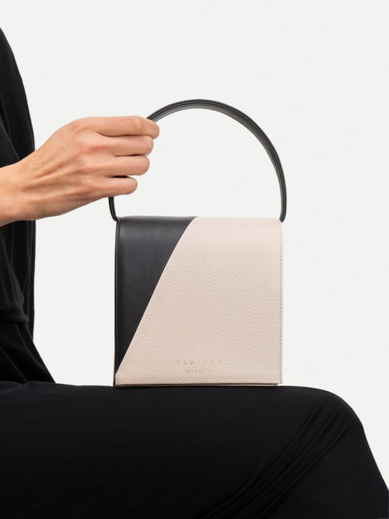 MALVA 2 hand bag in balck/ivory calfskin leather | TSATSAS