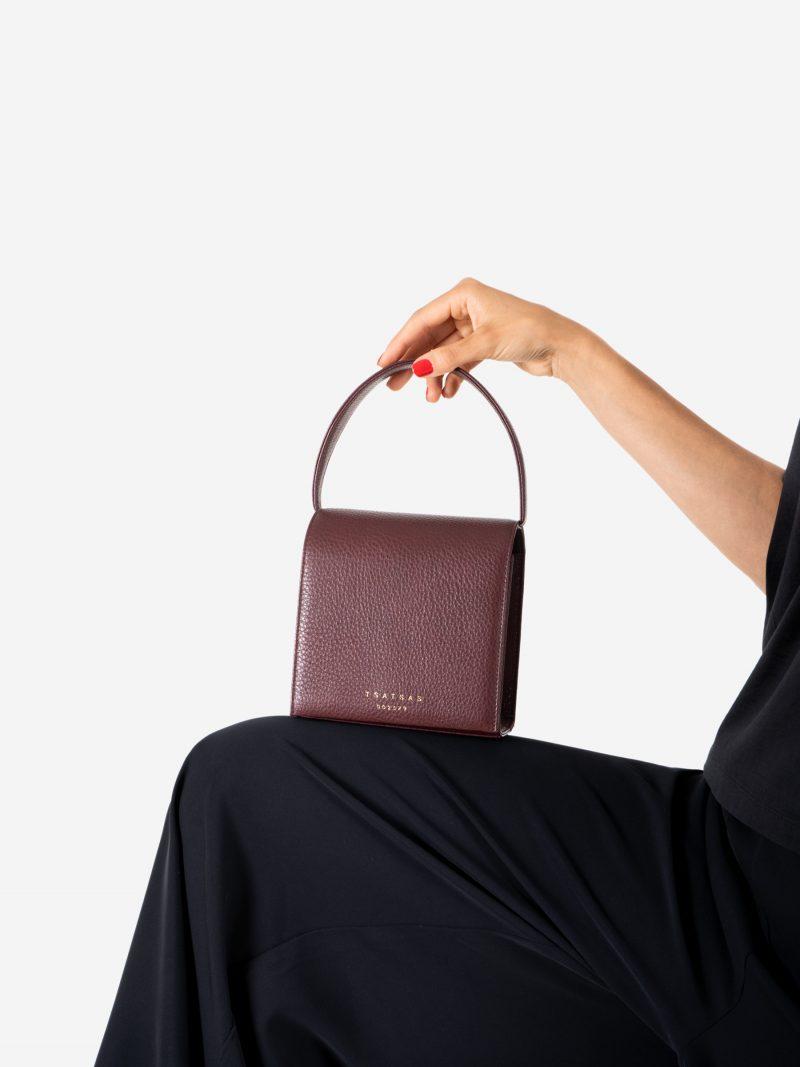 MALVA 2 hand bag in burgundy calfskin leather | TSATSAS