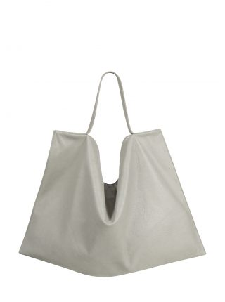 NATHAN shoulder bag in concrete grey calfskin leather | TSATSAS