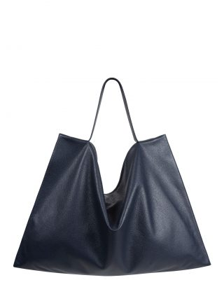 NATHAN shoulder bag in navy blue calfskin leather | TSATSAS