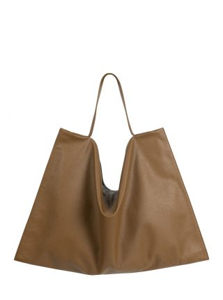 NATHAN shoulder bag in olive brown calfskin leather | TSATSAS