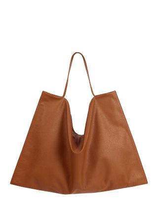 NATHAN shoulder bag in tan calfskin leather | TSATSAS
