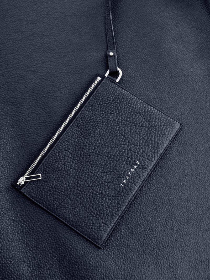 NATHAN shoulder bag in navy blue calfskin leather | TSATSAS