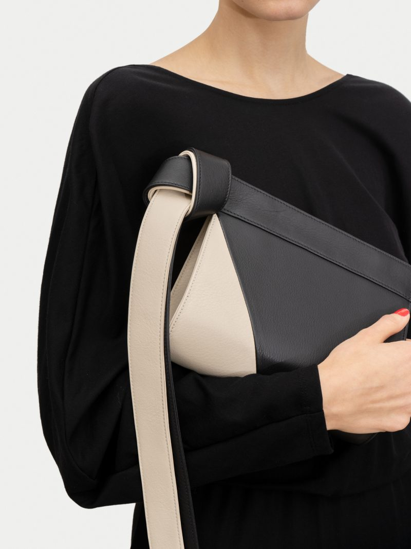 TAPE XS clutch bag in black/ivory calfskin leather | TSATSAS