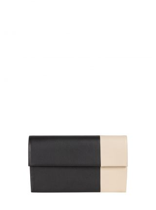 HAZE clutch bag in black/ivory calfskin leather | TSATSAS