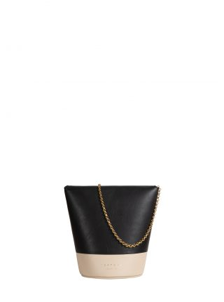 OLIVE shoulder bag in black/ivory calfskin leather | TSATSAS