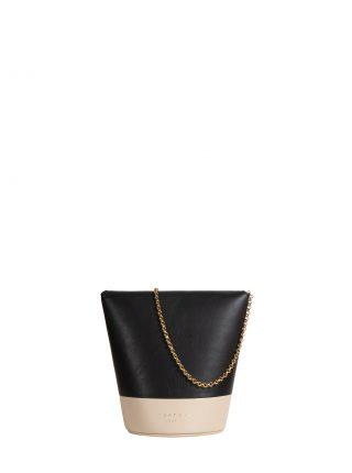 OLIVE shoulder bag in black/ivory calfskin leather | TSATSAS