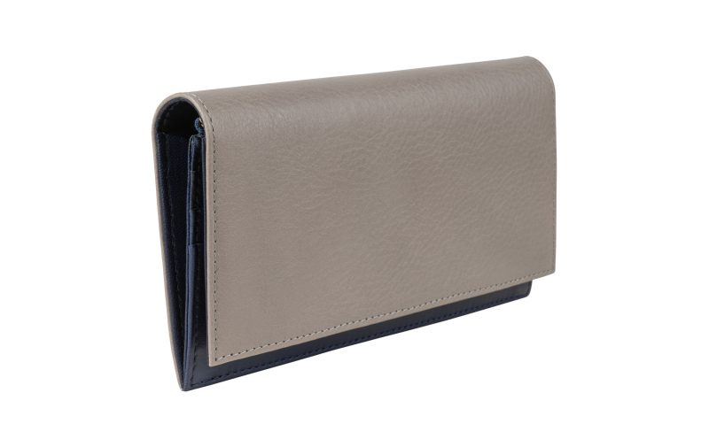 CREAM TYPE 10 wallet in grey calfskin leather | TSATSAS