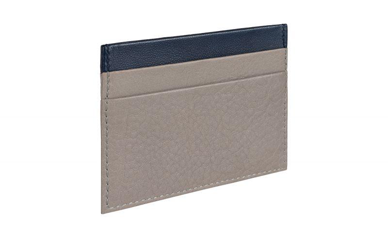 CREAM TYPE 1 card holder in grey calfskin leather | TSATSAS