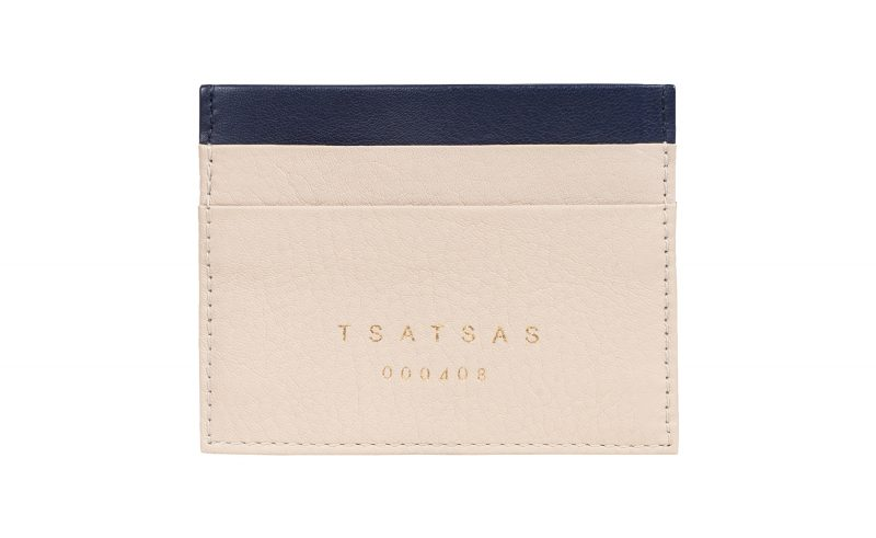 CREAM TYPE 1 card holder in ivory calfskin leather | TSATSAS