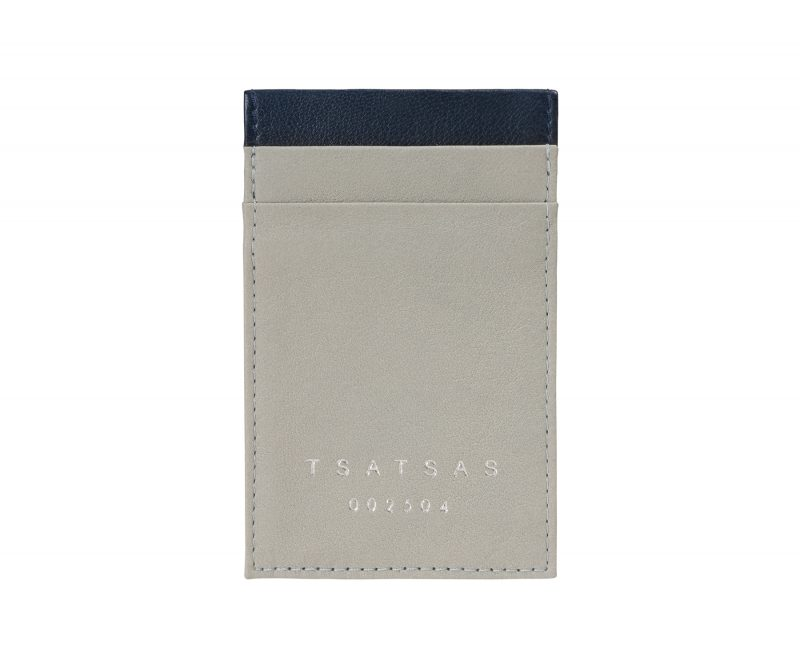 CREAM TYPE 2 card holder in concrete grey calfskin leather | TSATSAS