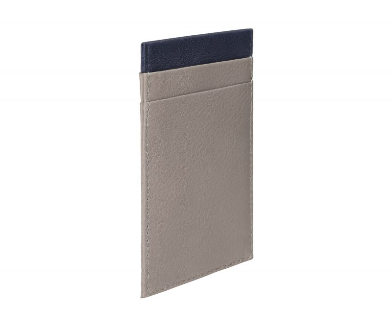 CREAM TYPE 2 card holder in grey calfskin leather | TSATSAS