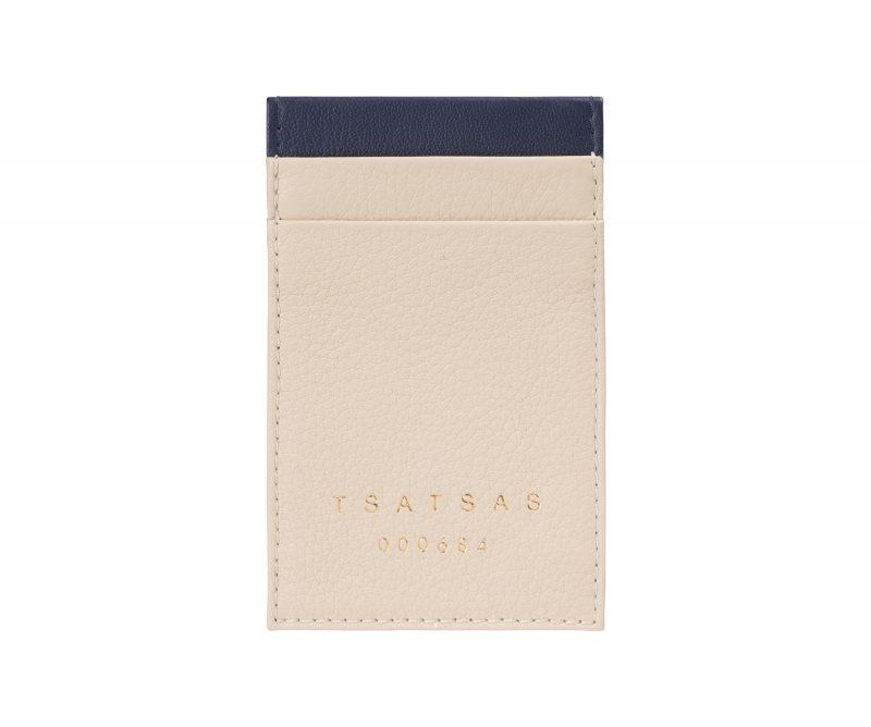 CREAM TYPE 2 card holder in ivory calfskin leather | TSATSAS