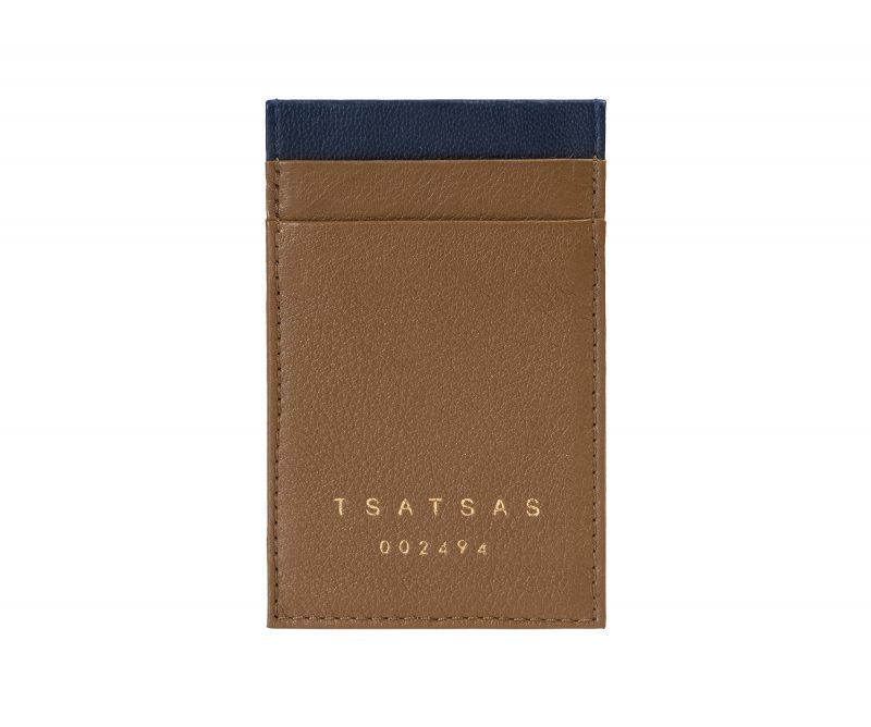 CREAM TYPE 2 card holder in olive brown calfskin leather | TSATSAS