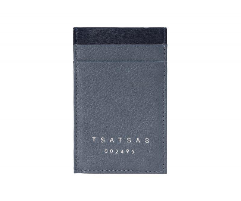 CREAM TYPE 2 card holder in slate blue calfskin leather   TSATSAS
