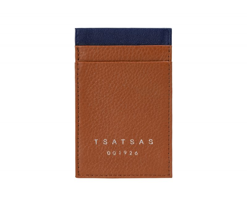 CREAM TYPE 2 card holder in tan calfskin leather | TSATSAS