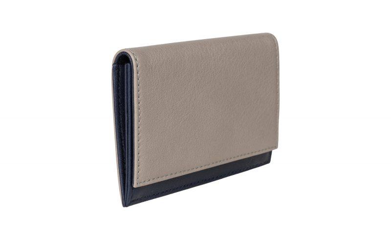 CREAM TYPE 3 coin wallet in grey calfskin leather | TSATSAS