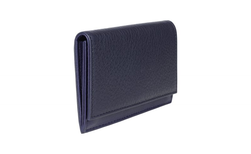 CREAM TYPE 3 coin wallet in navy calfskin leather | TSATSAS
