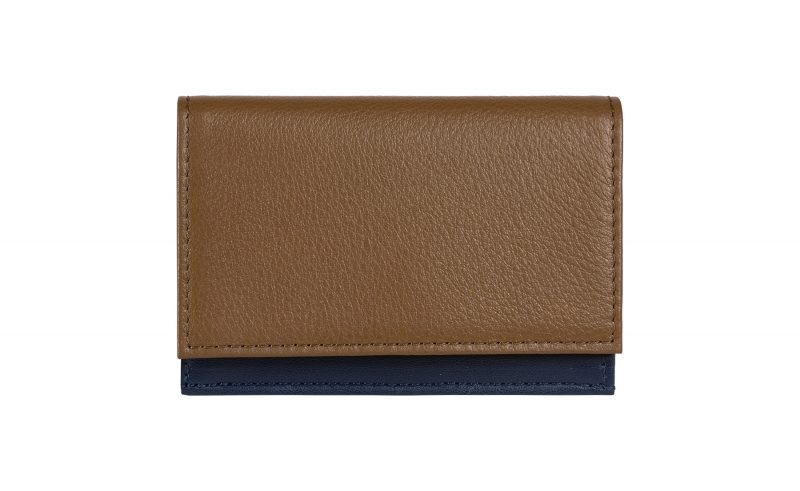 CREAM TYPE 3 coin wallet in olive brown calfskin leather | TSATSAS
